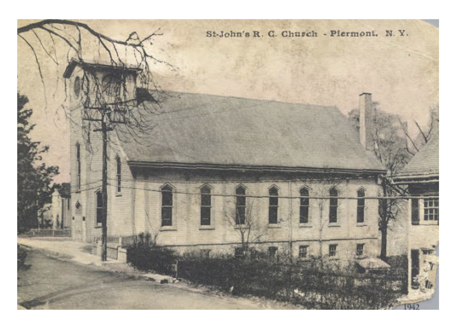 A historic photo of St. John's R.C. Church, Piermont, New York, which featured large in the Nelligan family story.