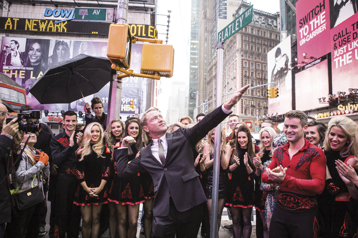 "A section of 42nd Street renamed ""Flatley Way"" to mark the opening of Lord of the Dance: Dangerous Games."
