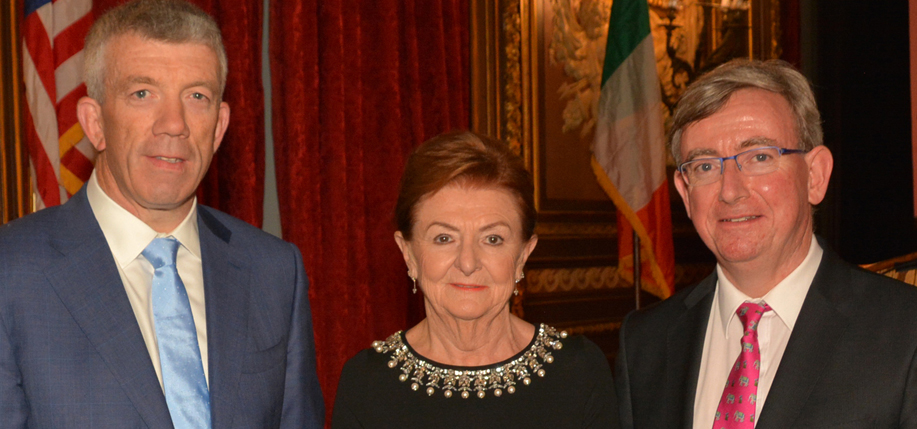 Hugh McGuire, Breege O'Donoghue  and Ciarán  Ó hÓgartaigh at the UCD Smurfit School dinner.