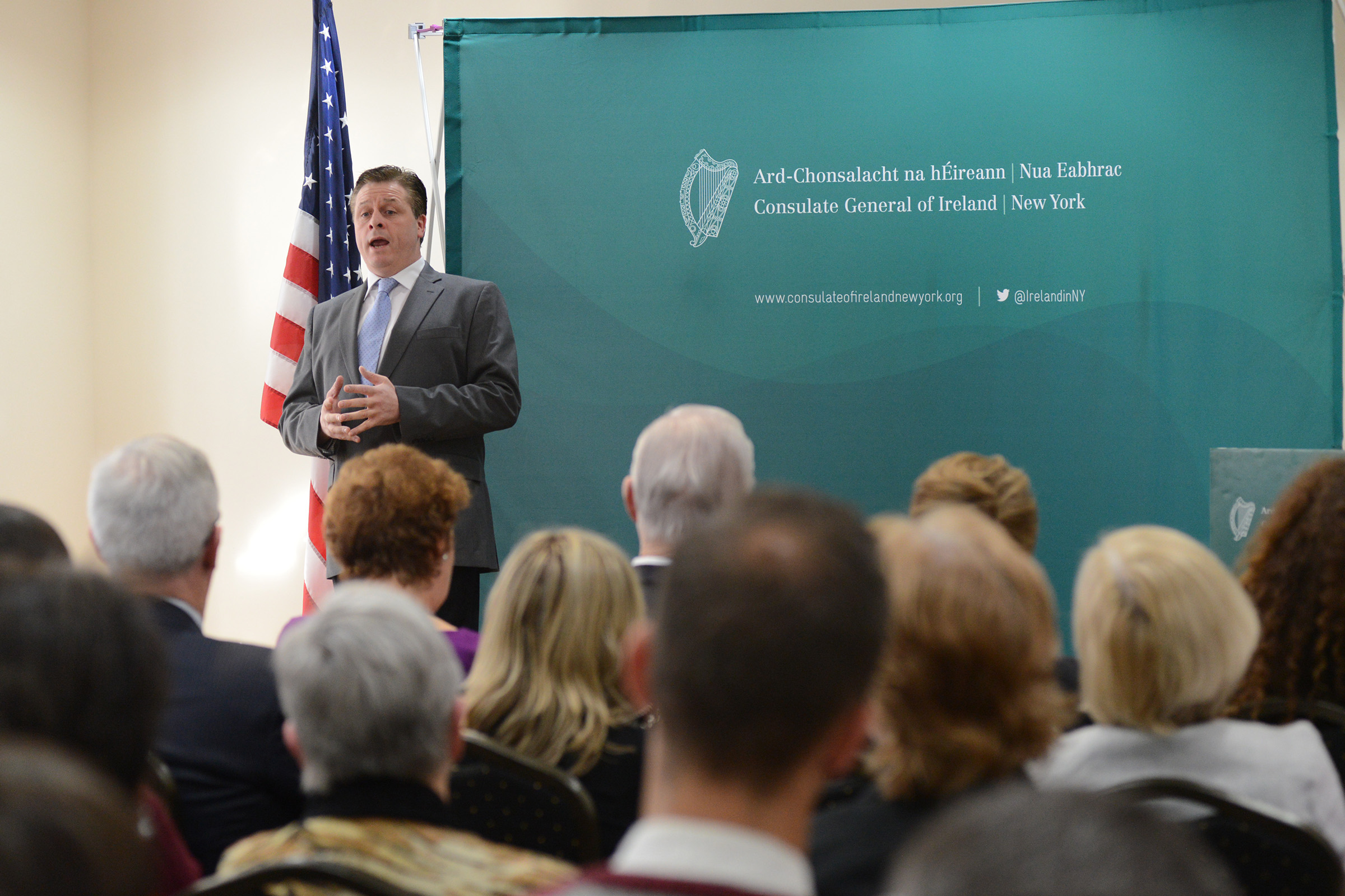 Irish Tenor Anthony Kearns sings at the event with Minister for Foreign Affairs and Trade Charlie Flanagan launching the 2016 Centenary Programme in the United States of America today in New York at the Consulate of Ireland. (Photo: James Higgins)