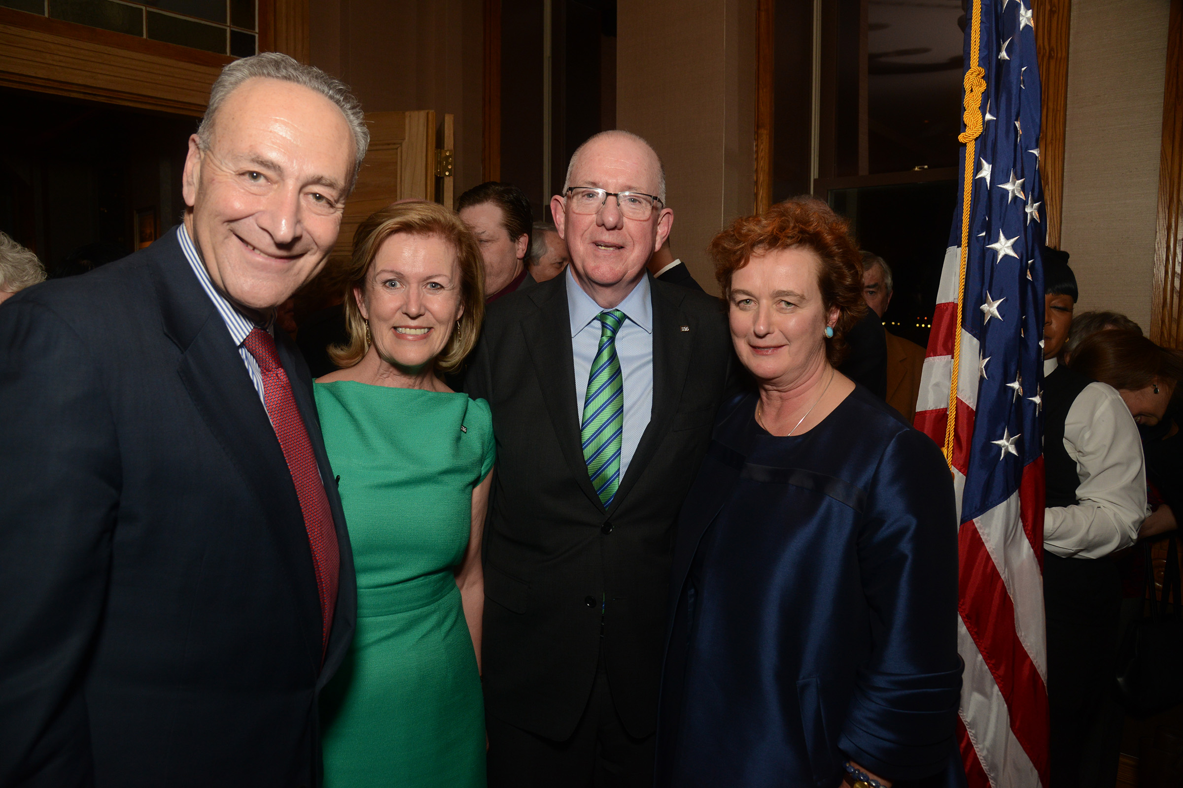Left to Right: New York Senator Chuck Schumer with Ambassador Anne Anderson, Minister Charlie Flanagan and Consul General Barbara Jones at Pier A, Jan 7, 2016. (Photo: James Higgins)