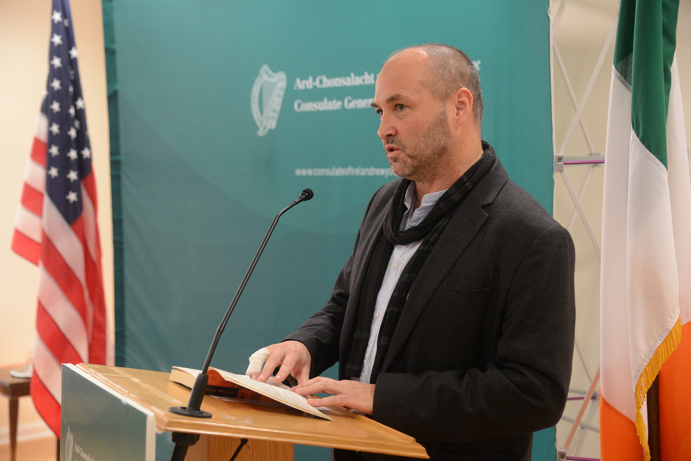 Author Colum McCann reads from one of his novels at the launch. (Photo: James Higgins)