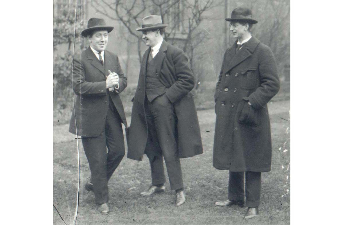 From left: Harry Boland, a member of the first Dáil for Sinn Féin; Michael Collins; and de Valera.