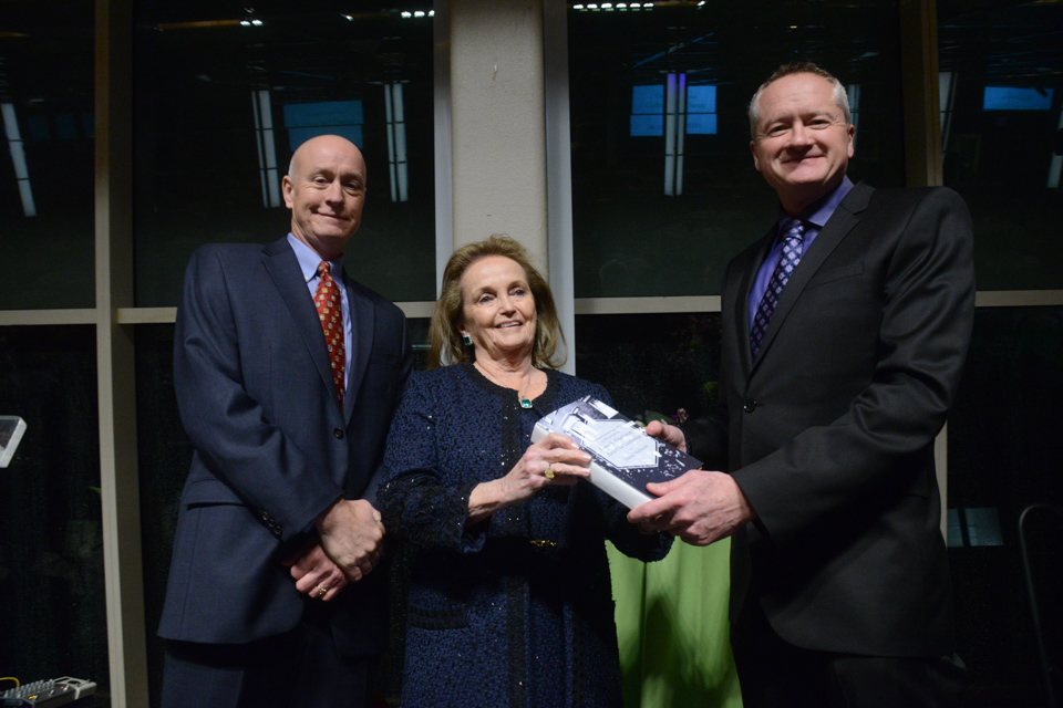 Dan Barry and Loretta Brenan Glucksman present Danny McDonald with the Lewis Glucksman Award for Leadership. (Photo by James Higgins)