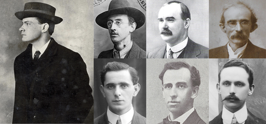 Clockwise from left, the signatories of the 1916 Proclamation: Pádraig Pearse, Joseph Mary Plunkett, James Connolly, Thomas Clarke, Eamonn Ceannt, Thomas MacDonagh, Sean MacDiarmada.