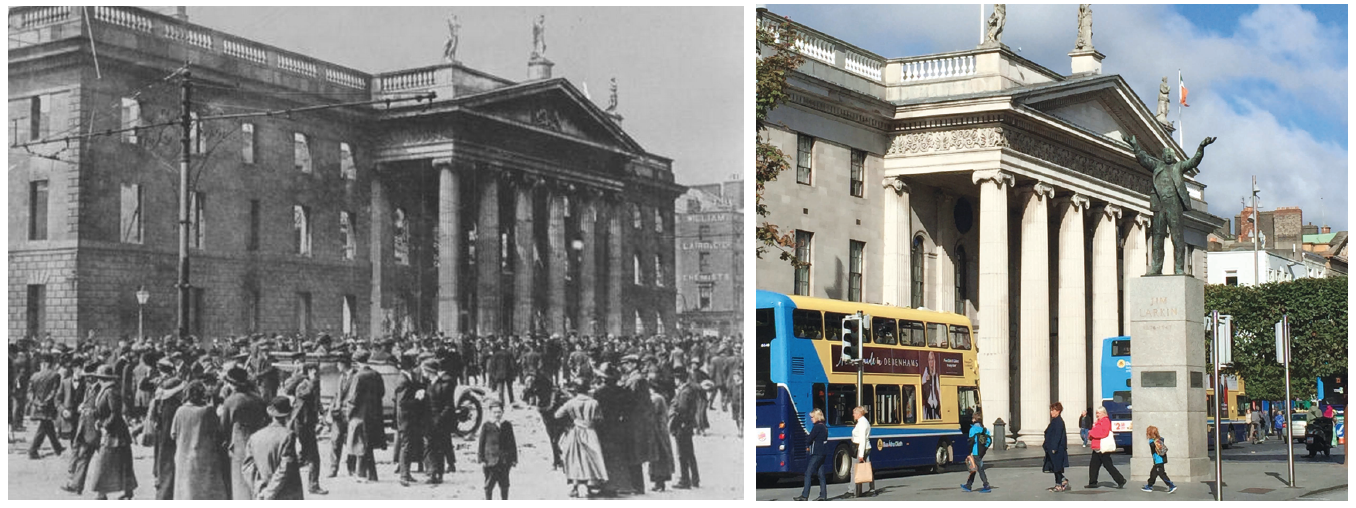 The General Post Office after the Rising, and how it looks today.