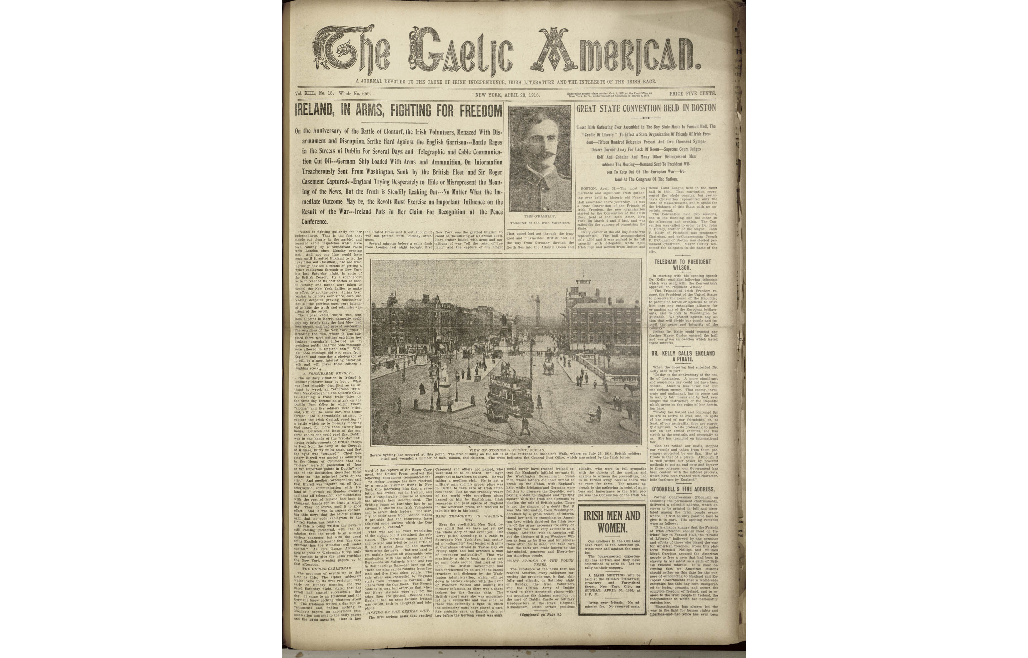 The front page of The Gaelic American which was edited and published by John Devoy.