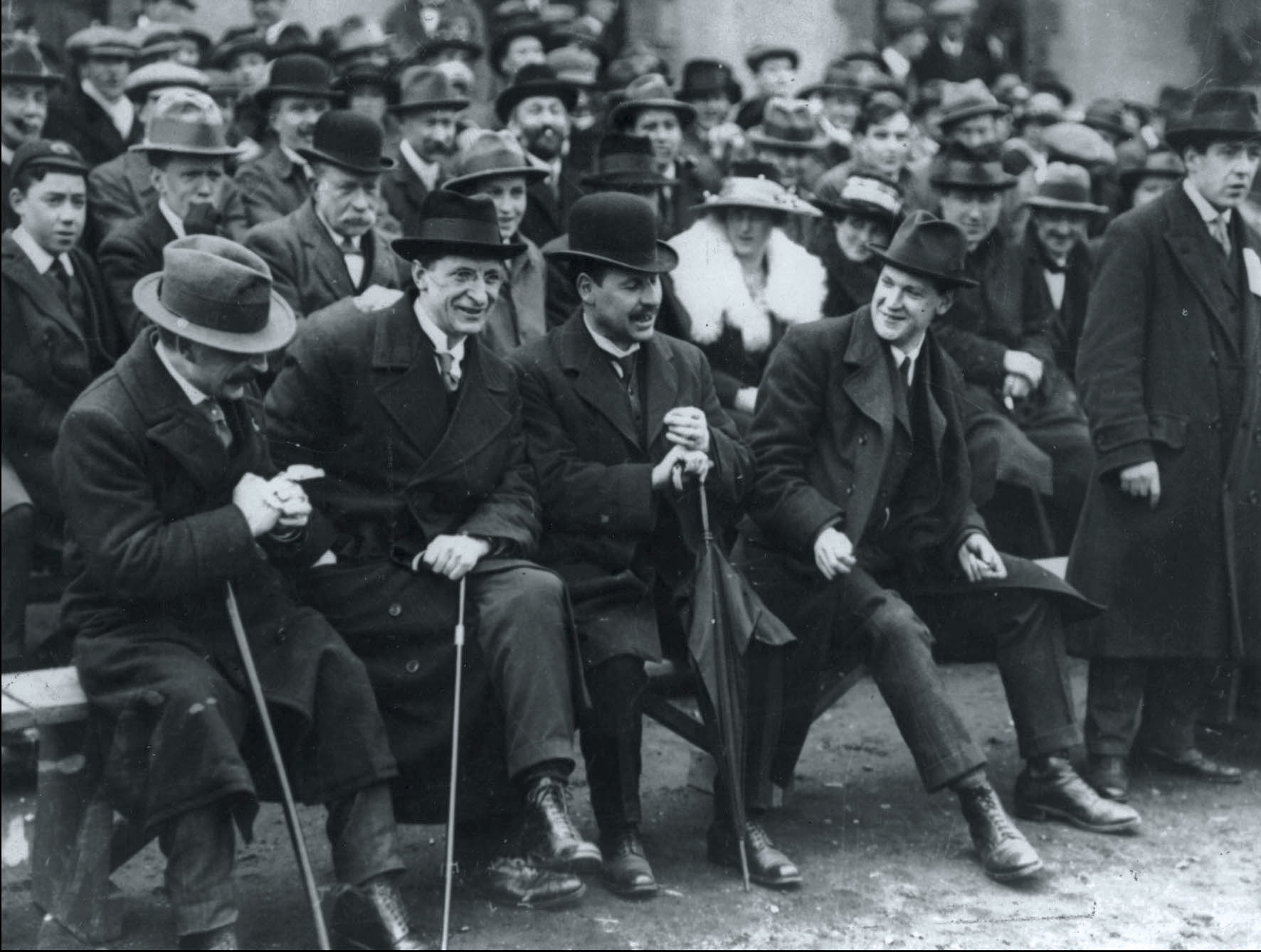 From left, Arthur Griffith, Eamon de Valera, Laurence O'Neill, and Collins at Croke Park, 1921.