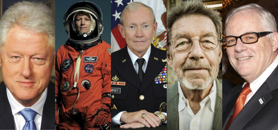 From left, the 2016 Irish America Hall of Fame honorees: former President Bill Clinton, astronaut Eileen Collins, General Martin Dempsey, writer Pete Hamill, and Mutual of America consultant Ed Kenney.