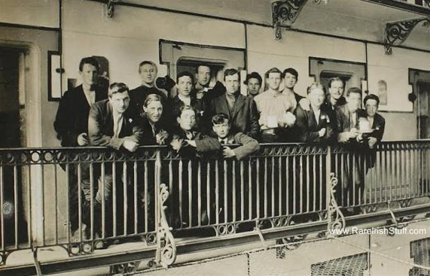 Michael Collins (fifth from right) with other Irish prisoners at Frongoch internment camp in Wales.