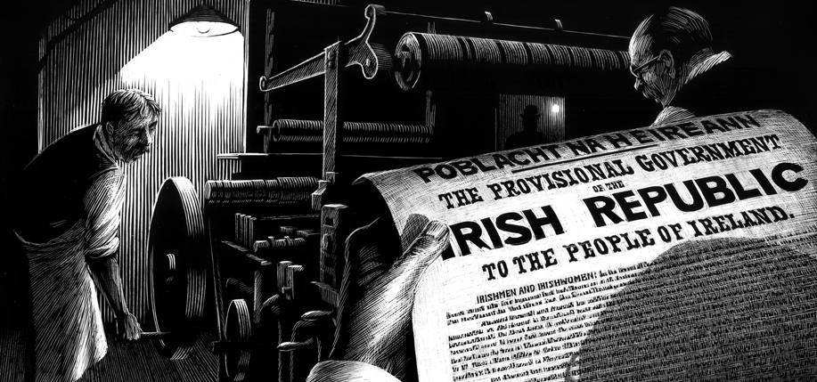 Printing the Proclamation. All drawings by David Rooney.