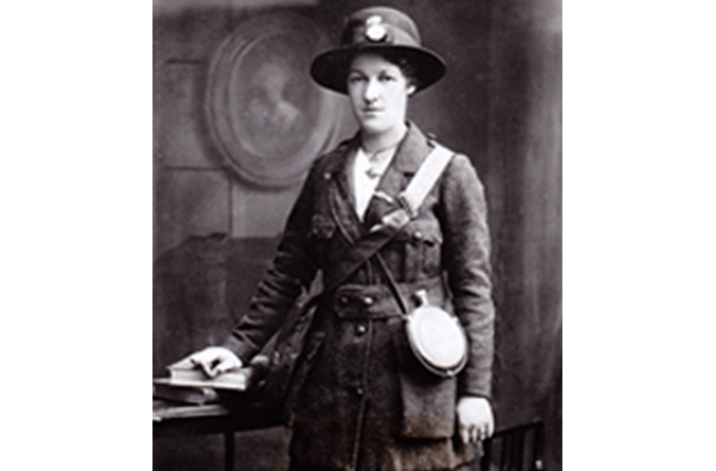 Margaret  Skinner who served as  a scout, a courier, and  a sniper during the  Rising. Shot and wounded, she was  refused a military  pension on the basis that she was a woman.