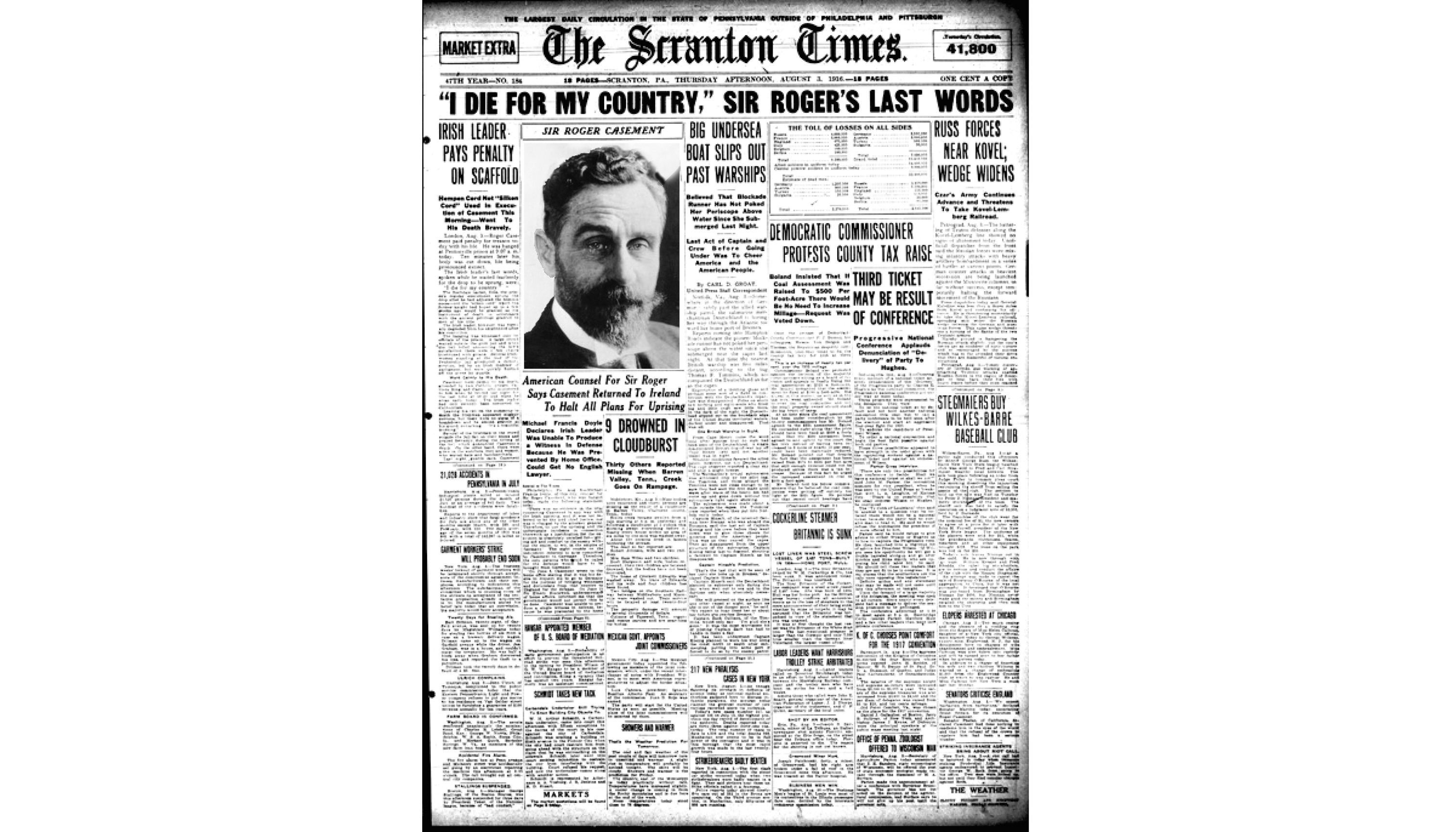 August 1, 1916: The Scranton Times reported on the hanging of Sir Roger Casement.