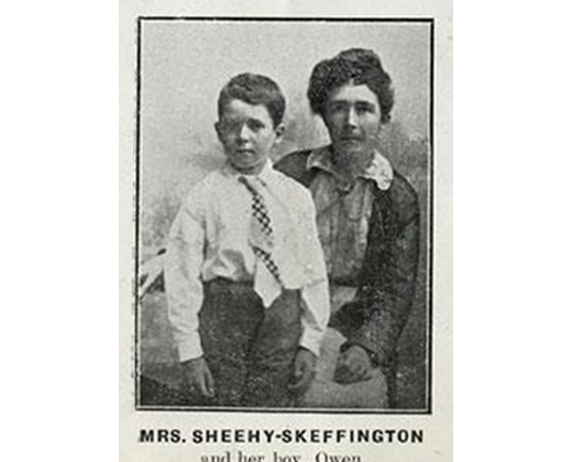 Hanna Sheehy-Skeffington (widow of Francis Skeffington,  a pacifist who was executed by the British Army during the Rising)  arrived in Boston with her son Owen several months after the  Rising. She spoke at  Faneuil Hall before an overflowing crowd.