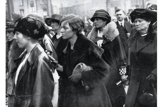 Cumann na mBan women at Cathal Brugha's funeral. Mary MacSwiney is on the far right.