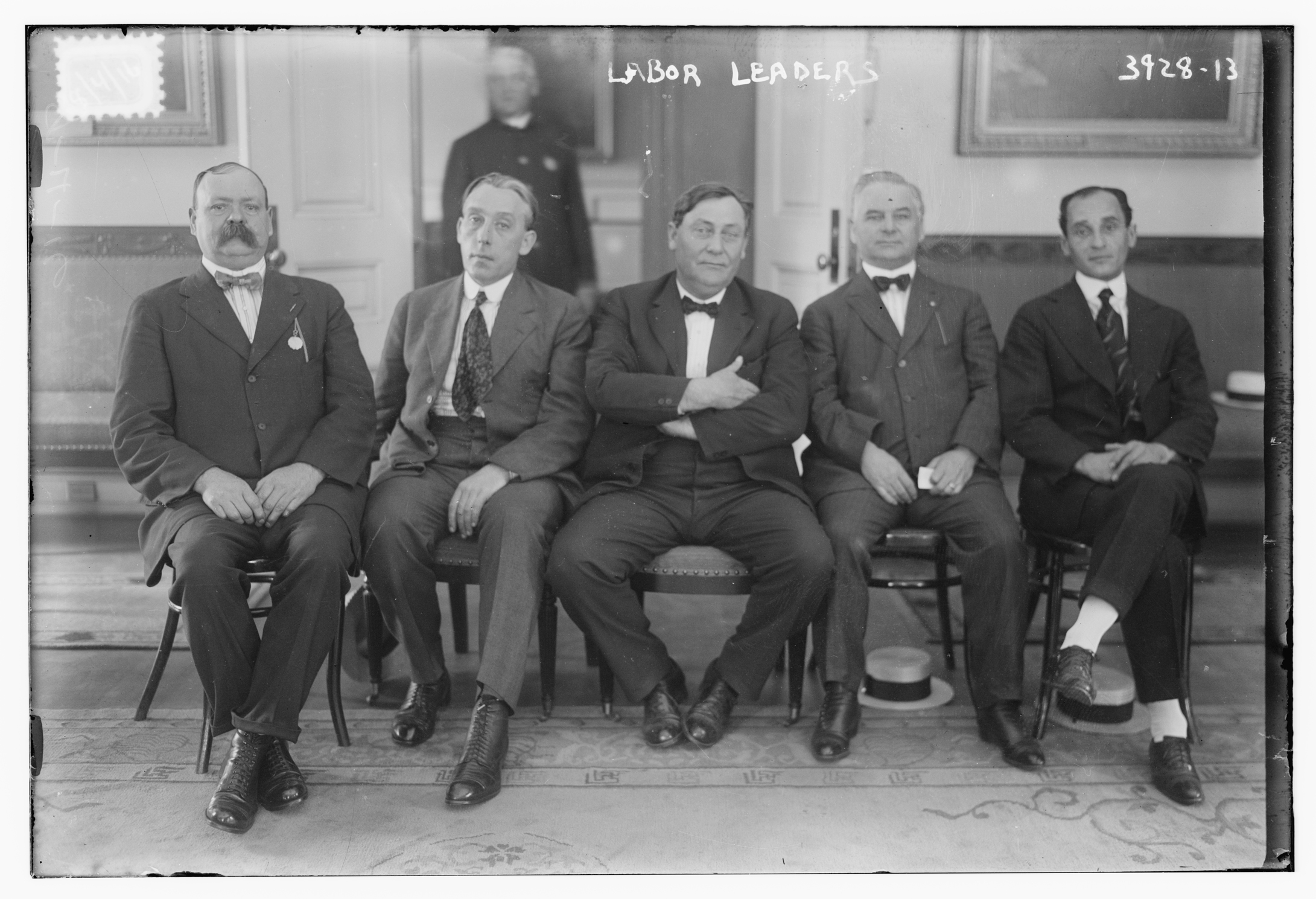 August 4, 1916: From left: Irish American  labor leaders Timothy Healy, William B.  Fitzgerald, William D. Mahon, Hugh Frayne (general  organizer in  New York for  the American  Federation of Labor), and Louis Fridiger. Probably taken during the streetcar strike in New York City, which took place in July and August of 1916. Fitzgerald, Mahon, and Fridiger  represented the Amalgamated  Association of Street Railway  Employees of  America.