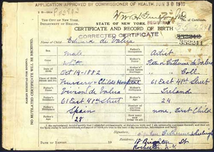 Corrected birth  certificates of Éamon de Valera (image courtesy of New York City  Department of Records).