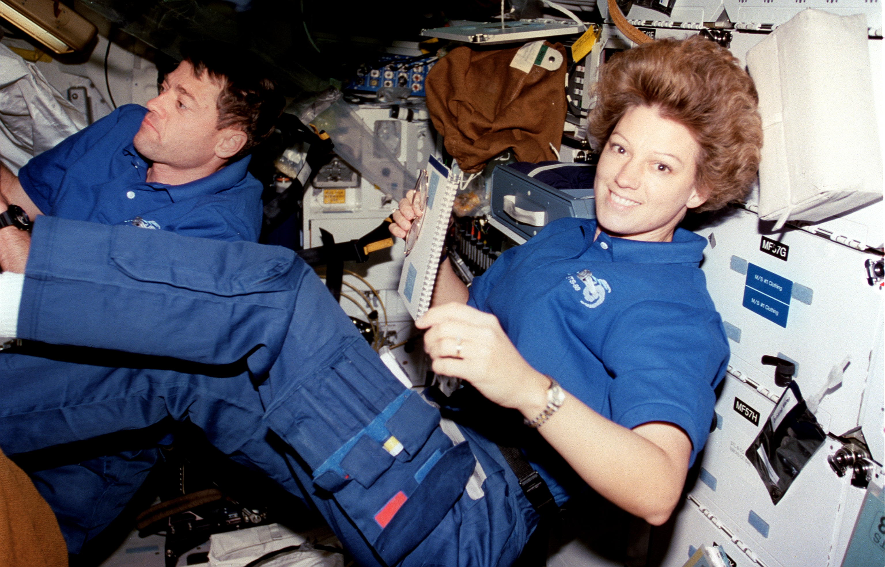Collins on STS-93 with Columbia in 1999, when she became the first female commander of a shuttle mission.
