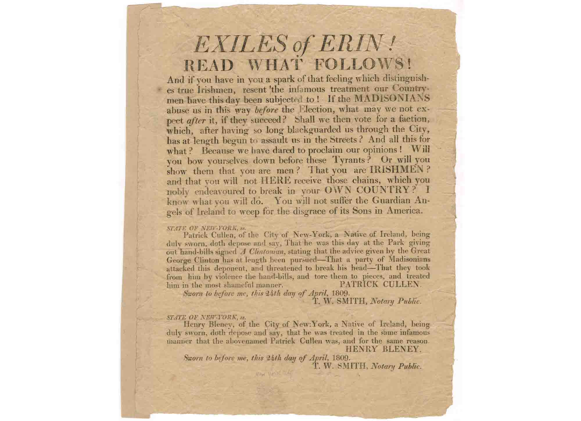 """Exiles of Erin"" broadside on display at Gracie Mansion."