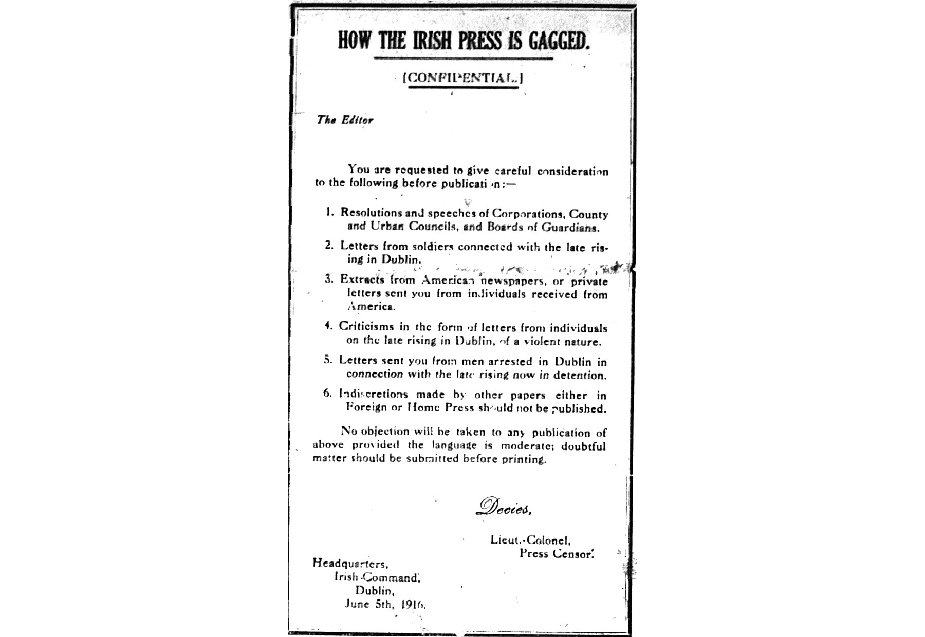 A copy of the censorship directive.