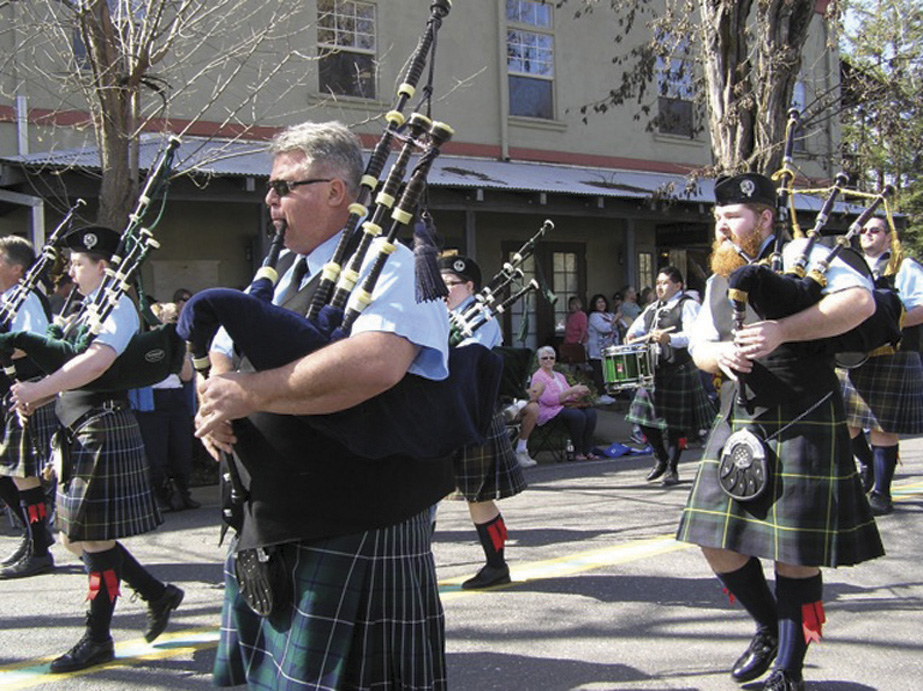 Irish bagpipers march in the 2015 Irish Day Parade.