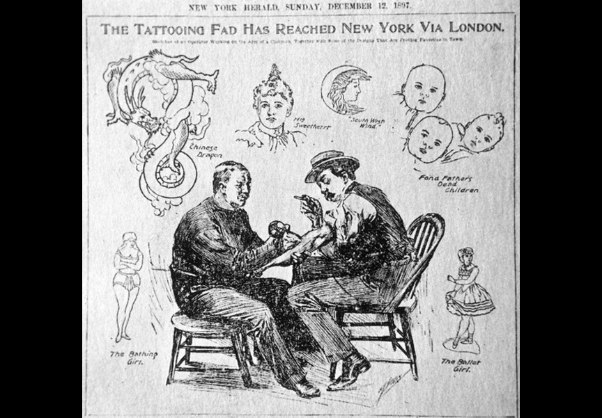 O'Reilly, left, in a Herald Sunday ad from 1897.