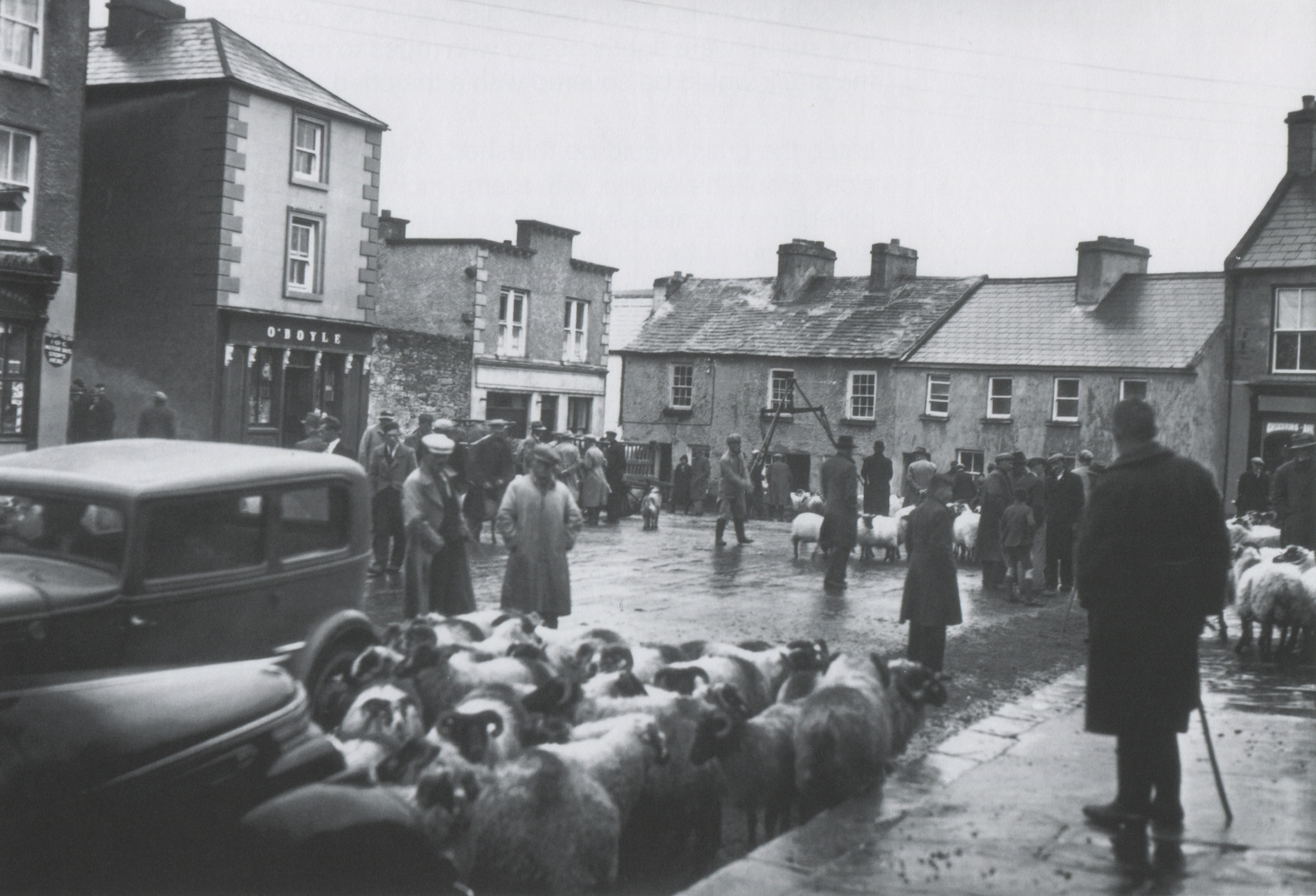 Sheep fair on Main Street in Newport, Co. Mayo. Many of the buildings can still be identified today.