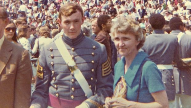 Dempsey with his mother, Sarah, at his West Point graduation, 1974.