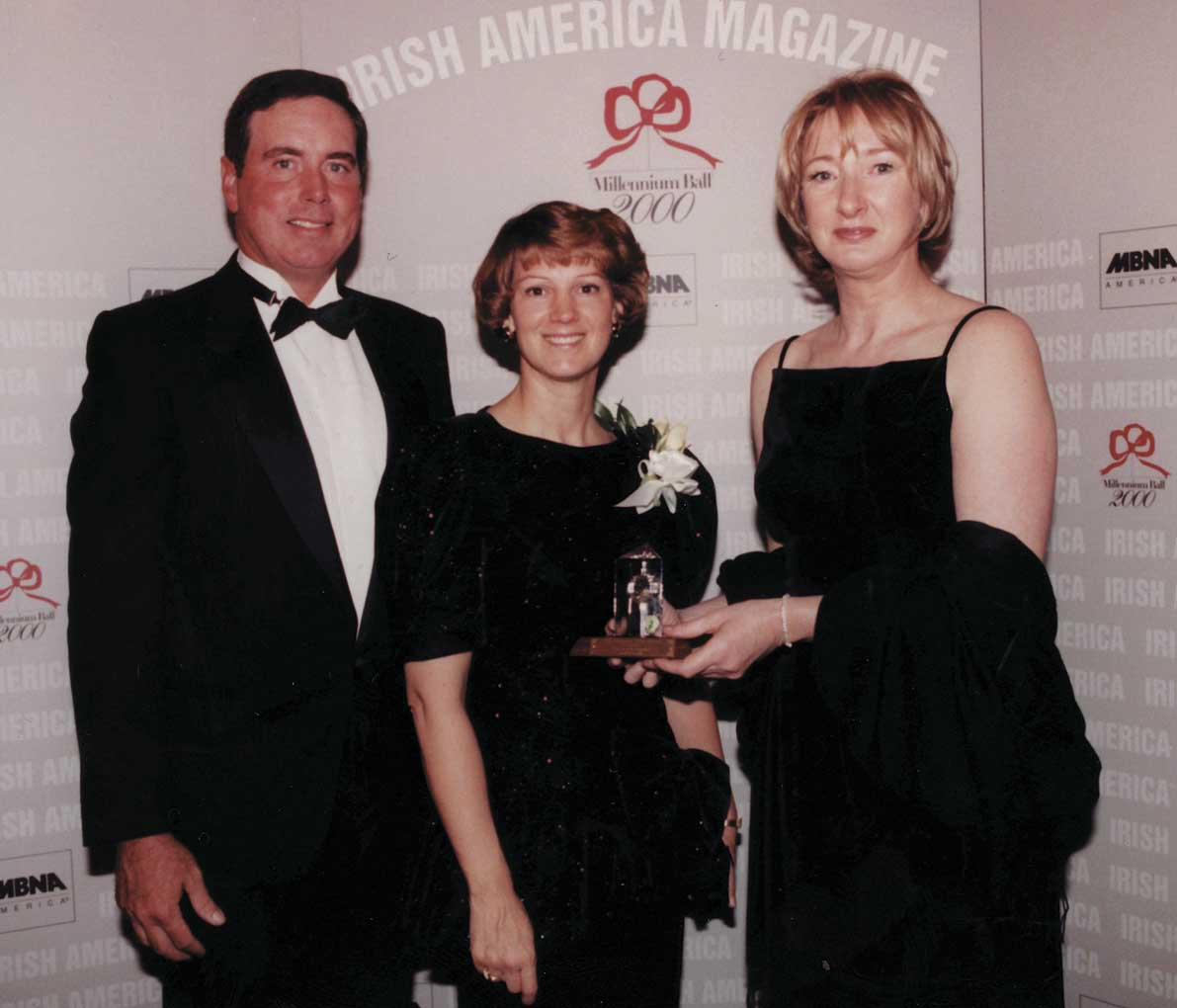 Eileen Collins, center, with her husband Pat Youngs, left, and  Patricia Harty at the 2000 Irish America Top 100 Awards.