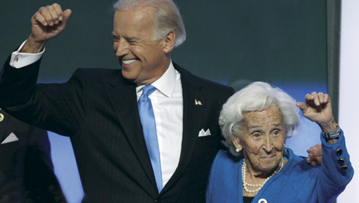 VP Joe Biden with his mother Catherine Eugenia Finnegan in 2008 at the Democratic National Convention in Denver.