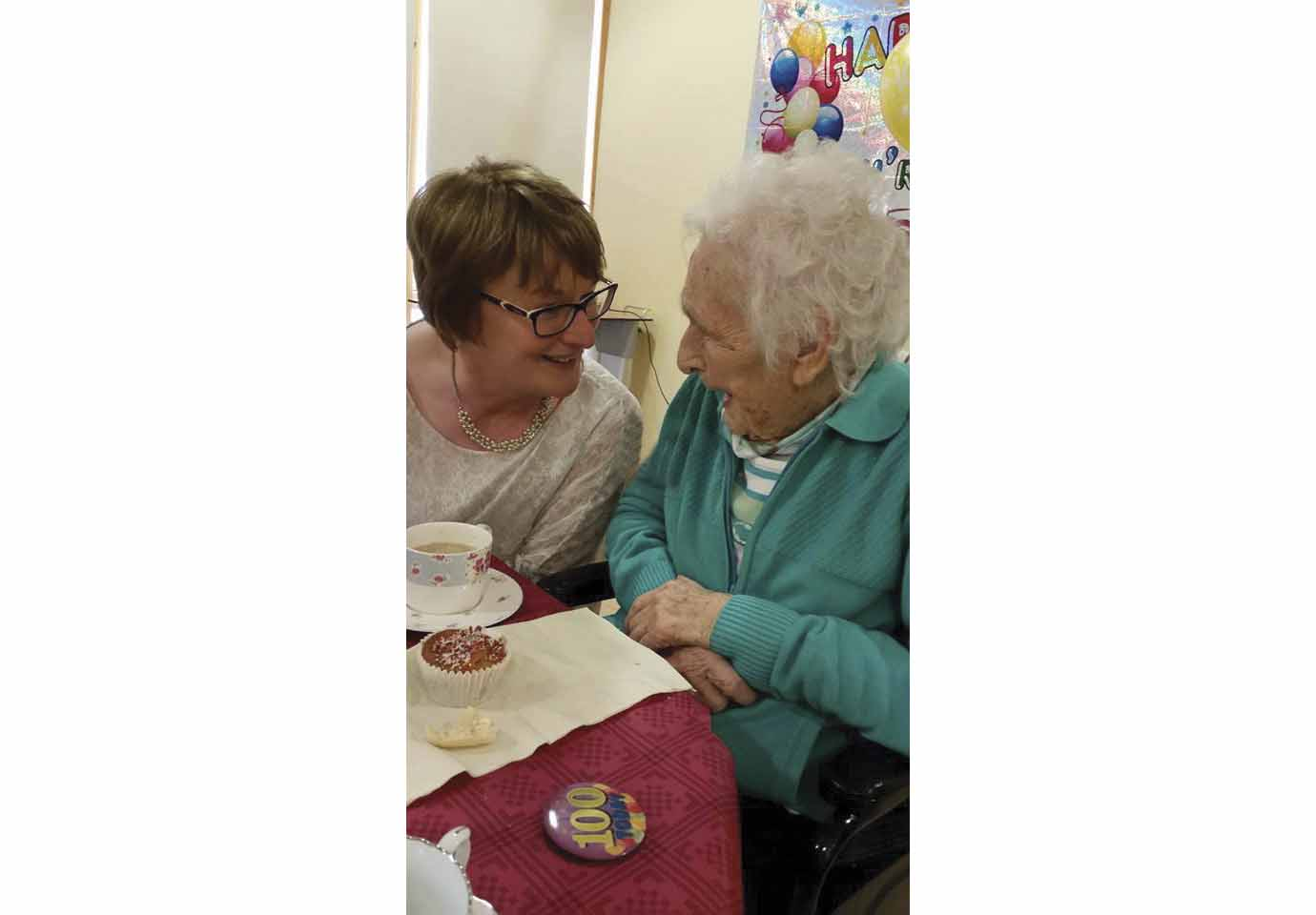 Molly Long  with her youngest daughter, Brenda,  on her 100th birthday. (Photo courtesy of the author)
