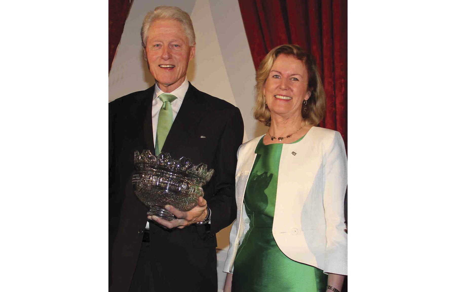 Ambassador Anderson pictured with President William  Jefferson Clinton at Irish America's Hall of Fame Luncheon in New York on March 30.