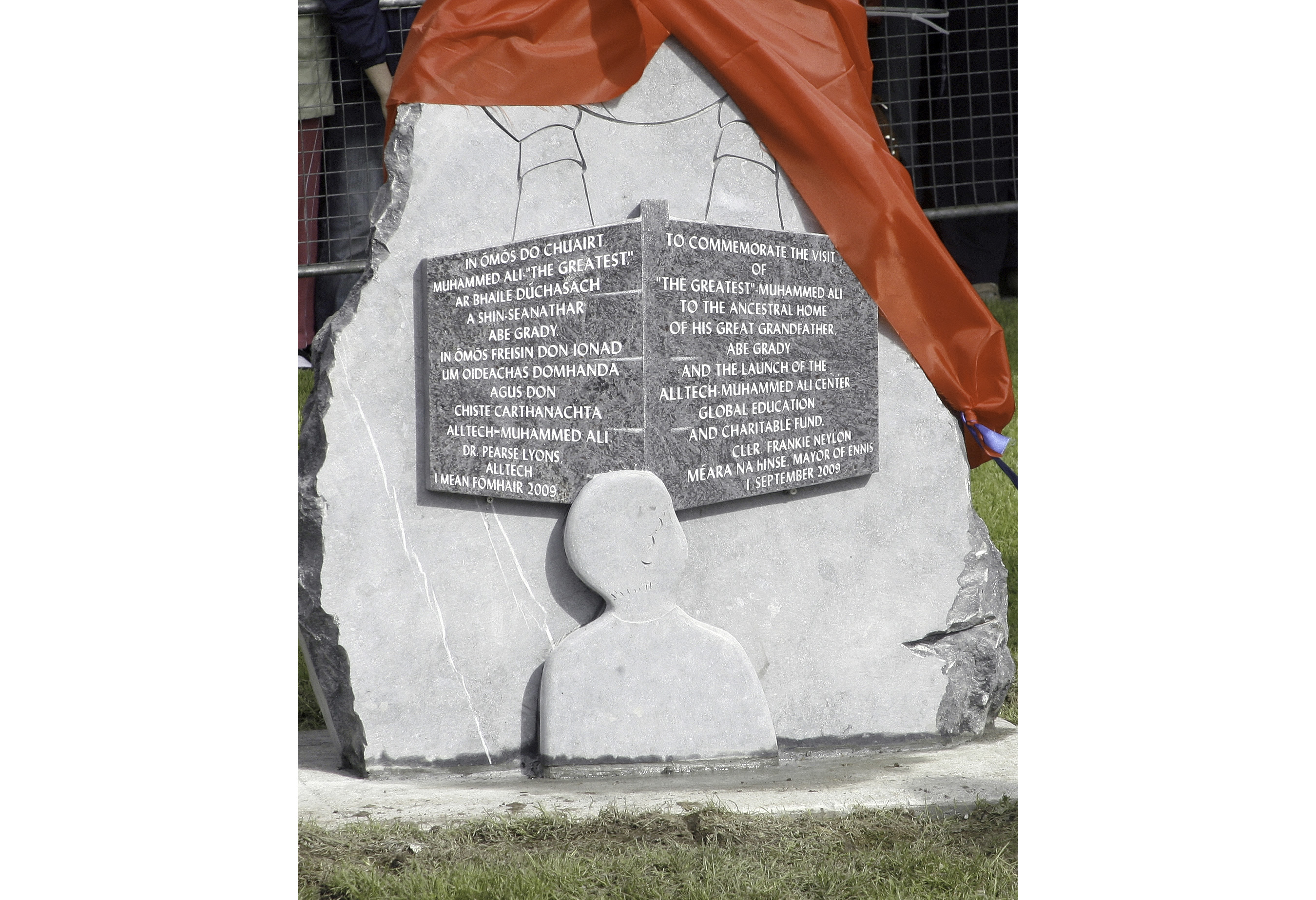 Commemorative statue marking Ali's 2006 visit to Ennis. Photo courtesy of the author.