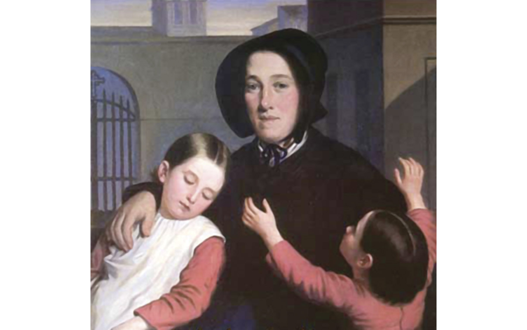 """Margaret Haughery with Orphans,"" a painting by J. Amans."