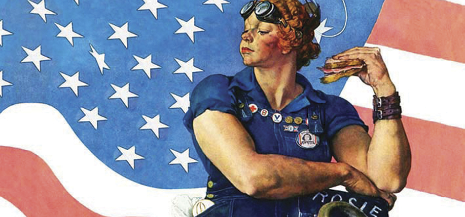 """Rosie the Riveter,"" by Norman Rockwell."