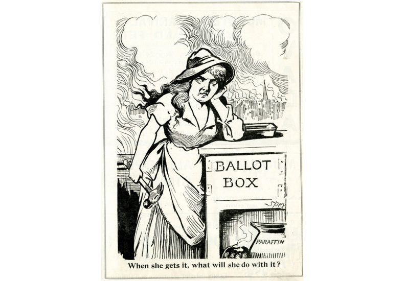 Political cartoons, like this one by Spex (John Fergus O'Hea), were widely distributed.
