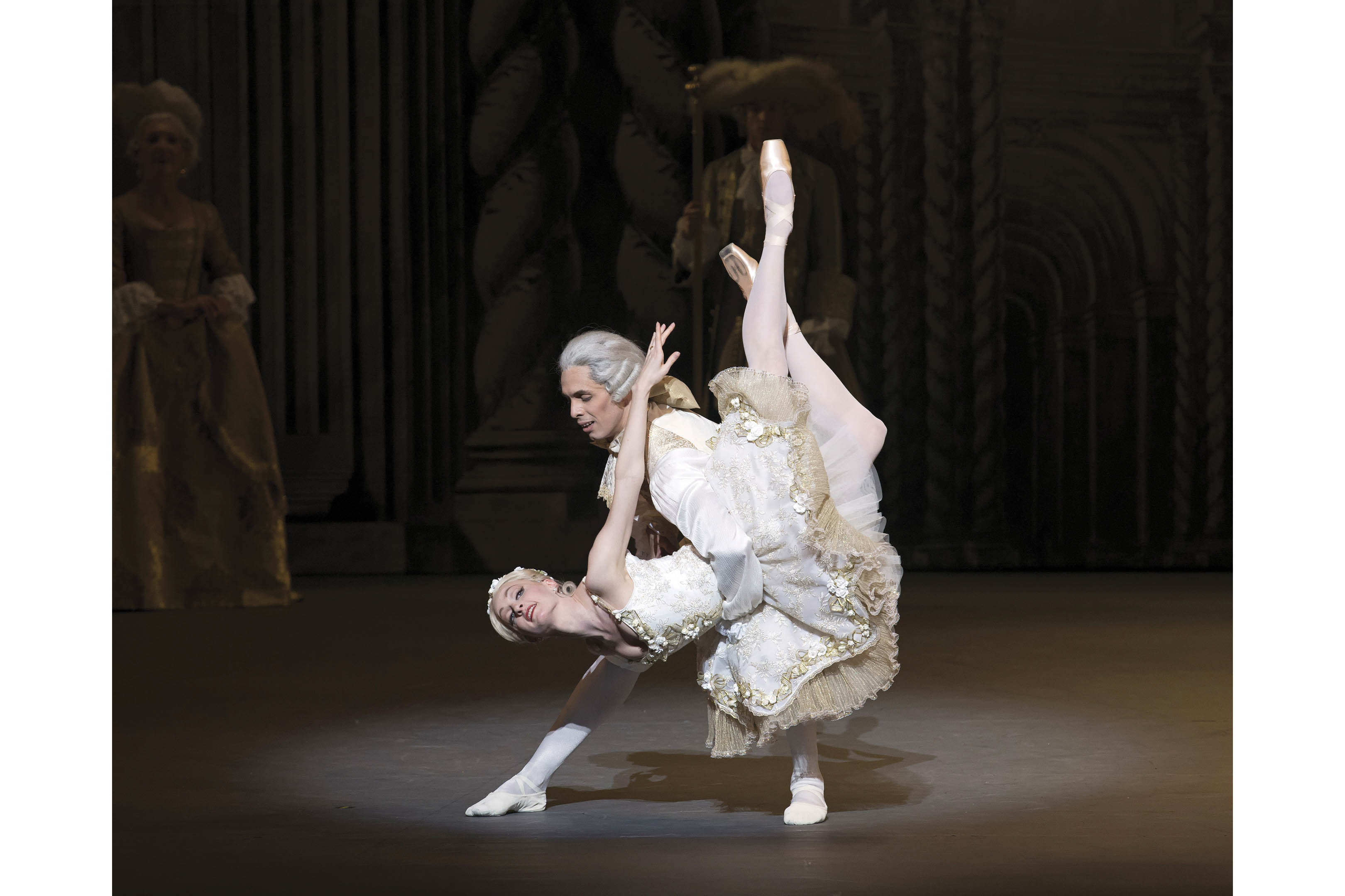 Gillian Murphy (Princess Aurora) and Alexandre Hammoudi (Prince Désiré) in Alexei Ratmansky's The Sleeping Beauty. (Photo: Gene Schiavone)