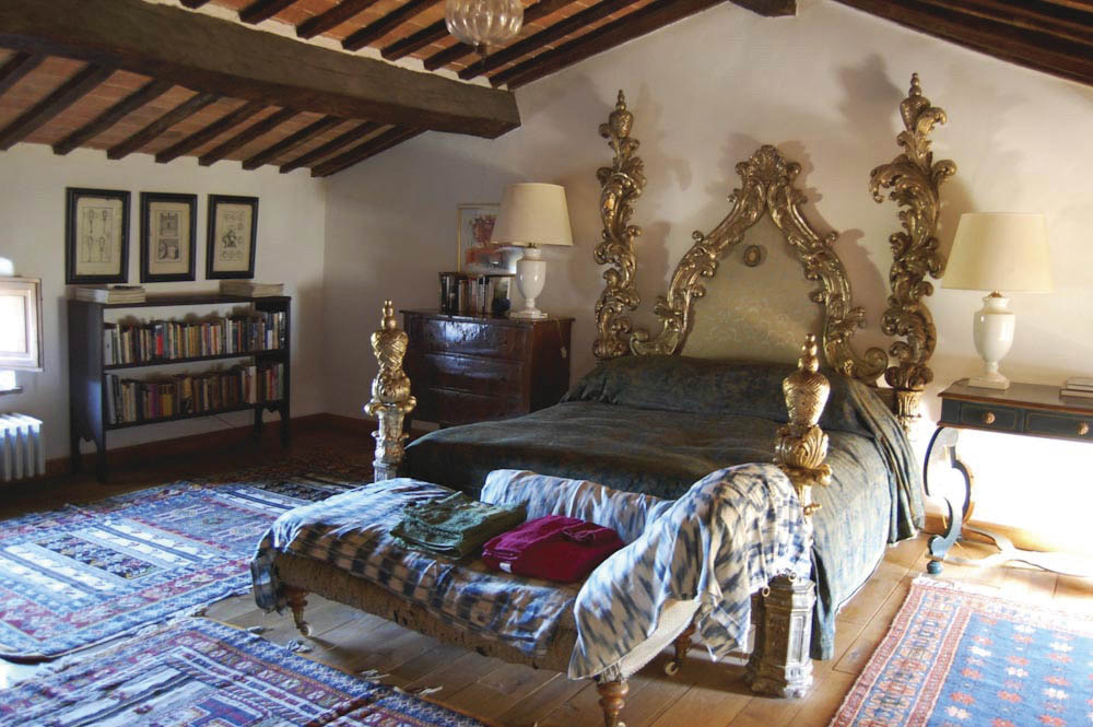 One of the 10  bedrooms in the main  castle. There are also two apartments available that can sleep two to eight people.