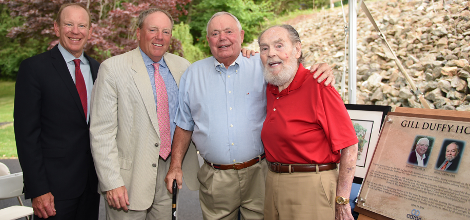 (Left to right) Caron Treatment Centers  president and CEO Doug Tieman, Casey Duffy, Ken Gill, and  John Duffy at the dedication of the Gill Duffy House in June. (All photos courtesy of Caron)
