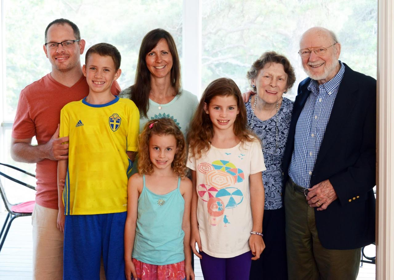 Campbell and his wife, Mary, pictured with their daughter, Betsy, her husband, Adam Learner, and their children, Jackson, Keira (in front of her mother), and Maya. (Photo: Kit DeFever)