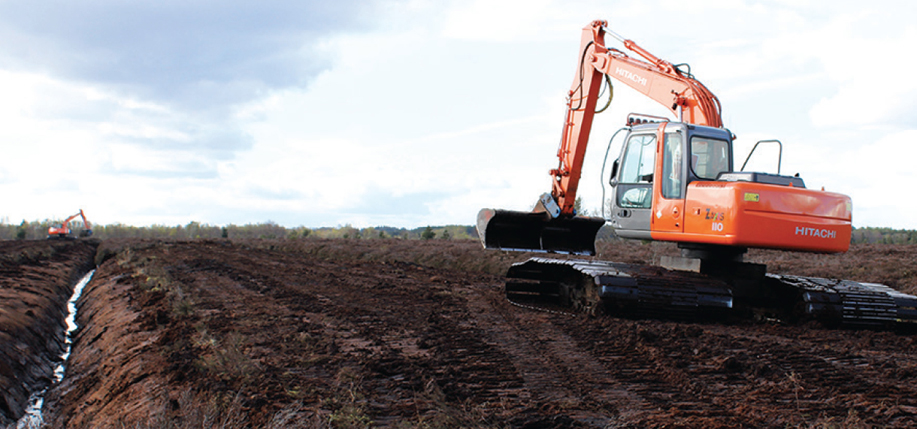 Raised bog being drained for peat extraction. Photo Fintan Kelly