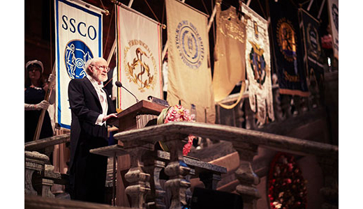 Campbell delivering his speech at the Nobel Banquet on 12/10/2015. (Copyright © Nobel Media AB 2015 Photo: Dan Lepp)
