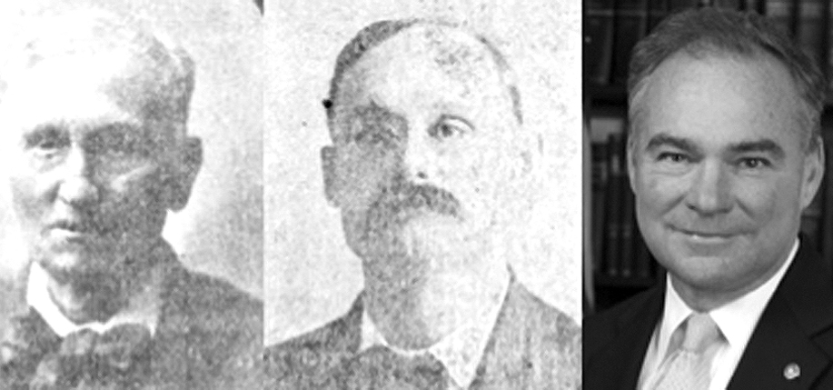 Immigrant John Mannion (left) and his son, T.P. Mannion (middle). Though it's hard to see, the latter  is sporting a monocle. What do you think? Is there a resemblance? (Newspapers.com)