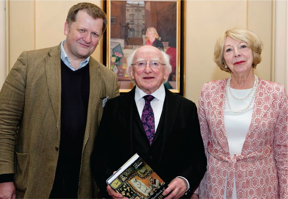 Alvin Jackson, Burns Scholar 1996-1997, Professor of History at the University of Edinburgh, with Ireland's President, Michael D. Higgins, and his wife, Sabina Coyne Higgins.