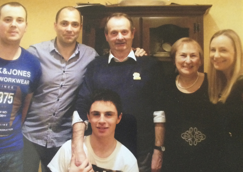 Christmas 2014 (L. to R): Donal's brother, John, Donal, his parents, his sister, Mary, and Mary's son Christopher.  (Photo courtesy Donal Ryan)
