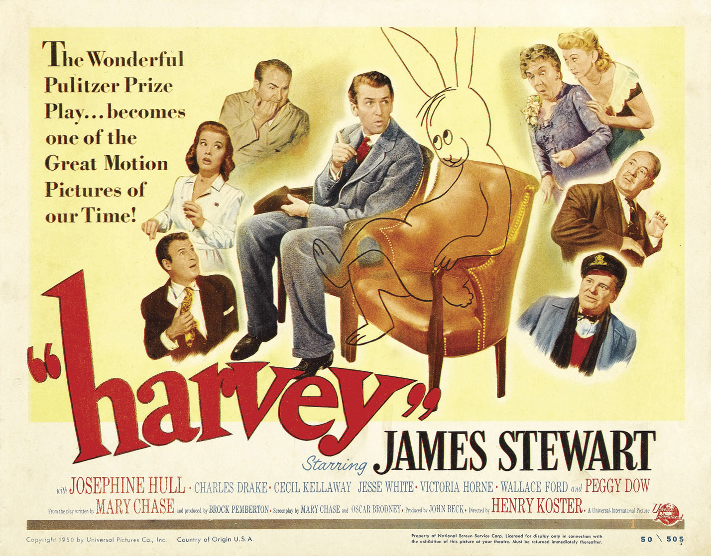 James Stewart, depicted here in the original movie poster for Harvey, claimed  Elwood P. Dowd to be the best role of his  career.