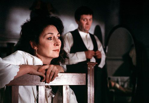 """Anjelica Huston and Donal McCann in the film version of """"The Dead."""""""