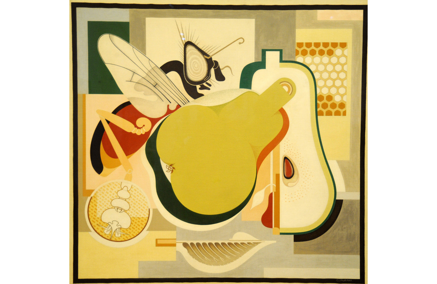 "Gerald Murphy, ""Wasp and Pear,"" 1929. Oil on canvas, 37 x 39 in. Now part of the Museum of Modern Art permanent collection."
