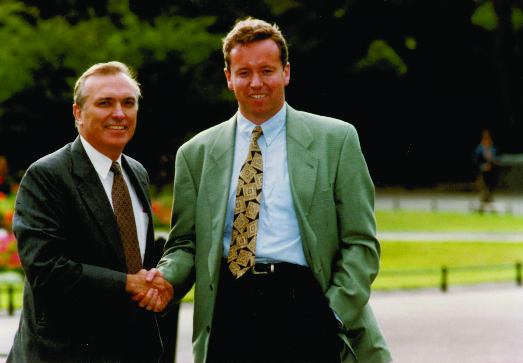 Dublin 1990: Sealing the joint venture with FleishmanHillard's John Graham.