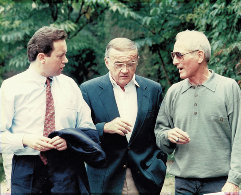 With Paul Newman and Budweiser marketing guru Mike Roarty at Barretstown days before the opening of the camp in 1994.